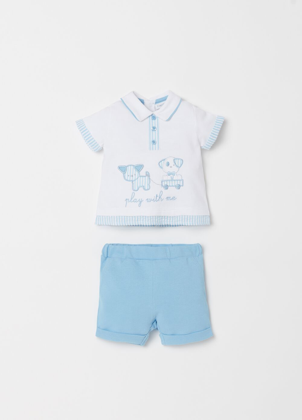 Polo shirt and shorts set with embroidery and stripes
