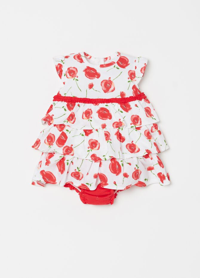 Sleeveless onesie with patterned flounce