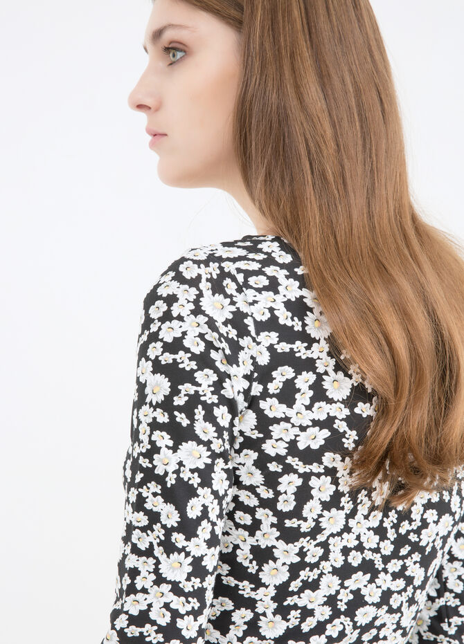 Short printed dress in stretch cotton