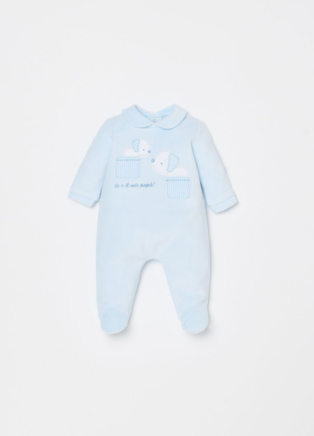 Onesie with feet and puppy embroidery