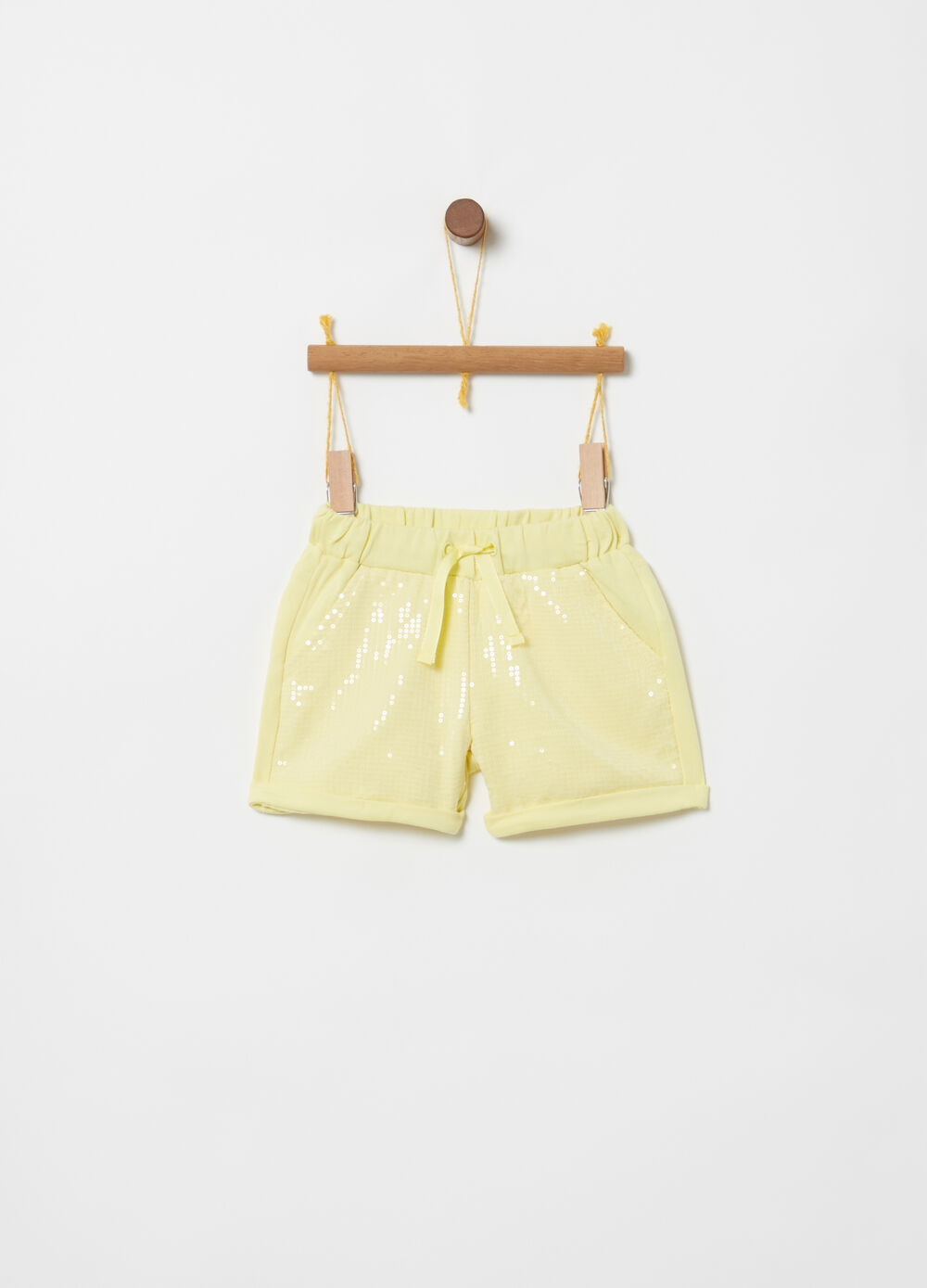 Biocotton shorts with sequins and drawstring