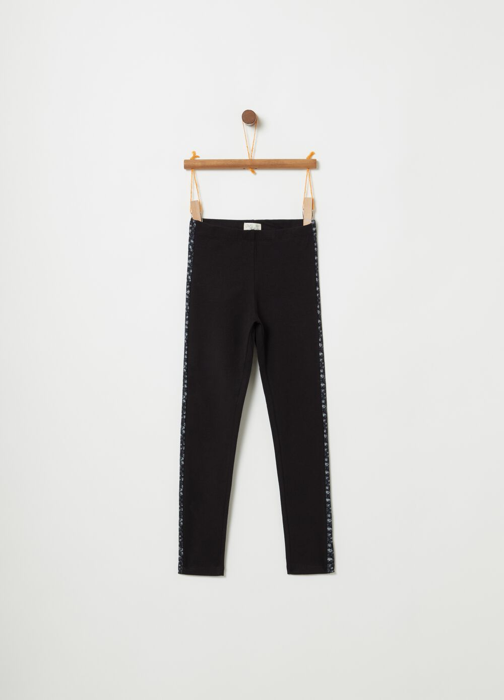 Stretch cotton leggings with animal print inserts