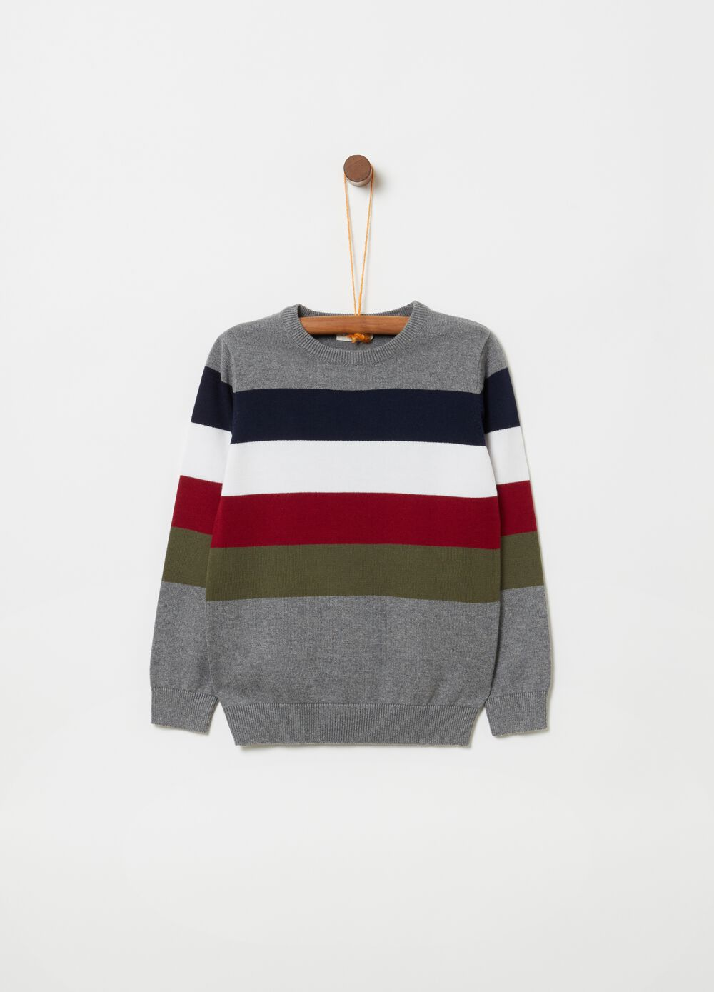 Knitted top with yarn-dyed striped embroidery
