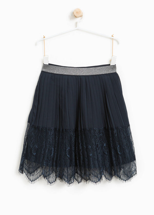 Pleated skirt with lace and glitter | OVS