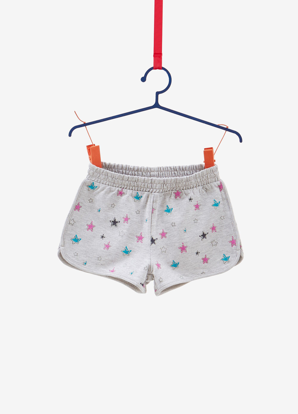 Viscose and cotton shorts with glitter stars