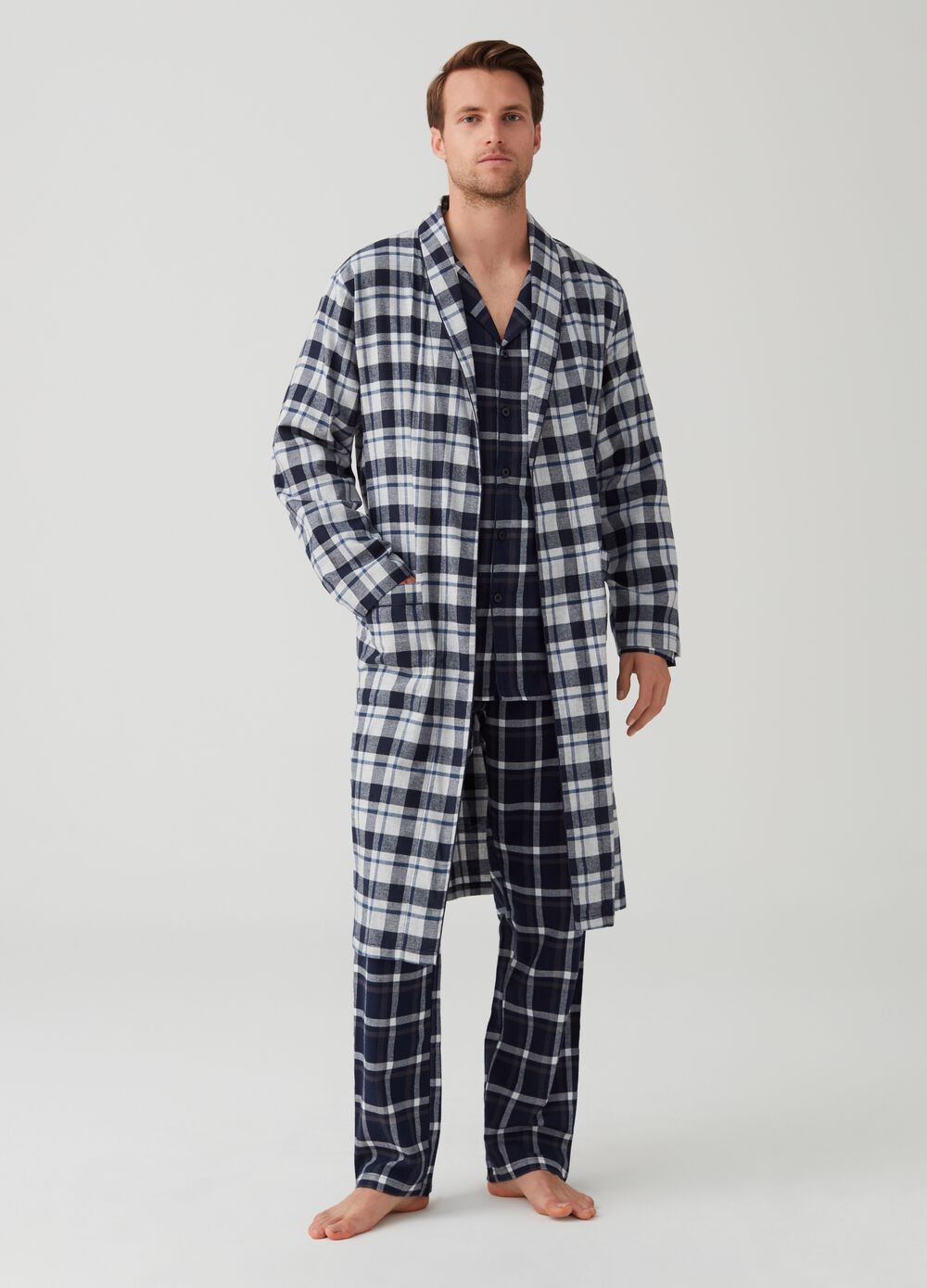 Flannel dressing gown with check pattern