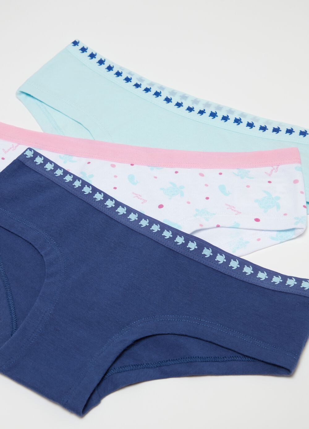 Three-pack organic cotton French knickers with sea turtles