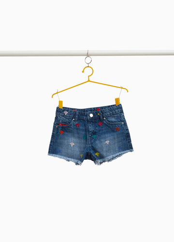 Stretch washed denim shorts with embroidery
