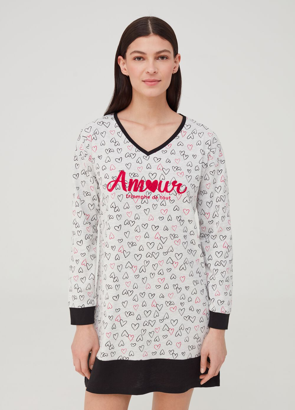 Viscose and organic cotton nightshirt