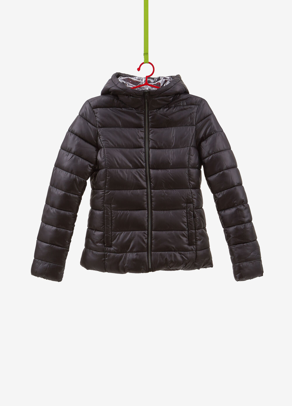 Solid colour ultralight down jacket with pockets