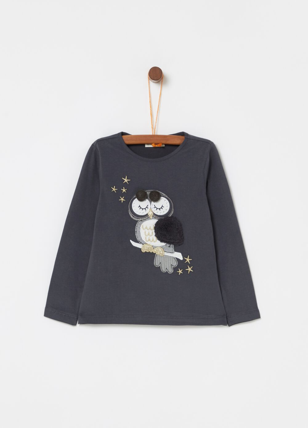 Stretch organic cotton T-shirt with Owl embroidery