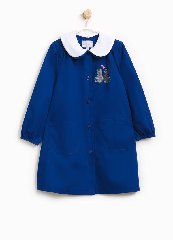 Cotton blend smock with kittens and diamantés | OVS