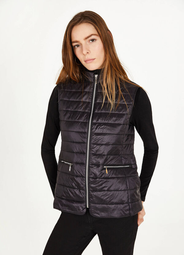 Ultralight waistcoat with high neck and zip
