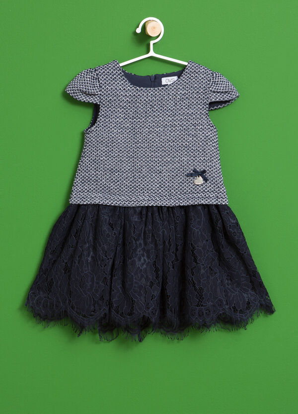Dress with lace and knitted design | OVS