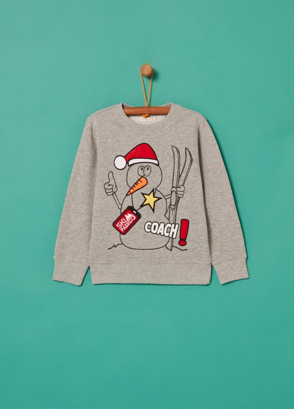 Mélange sweatshirt with snowman print
