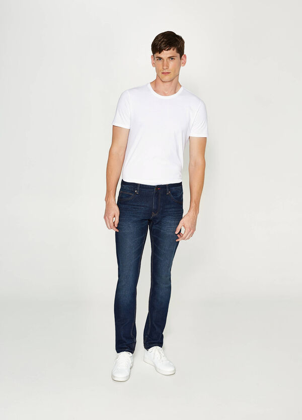 Slim fit jeans with whiskering | OVS