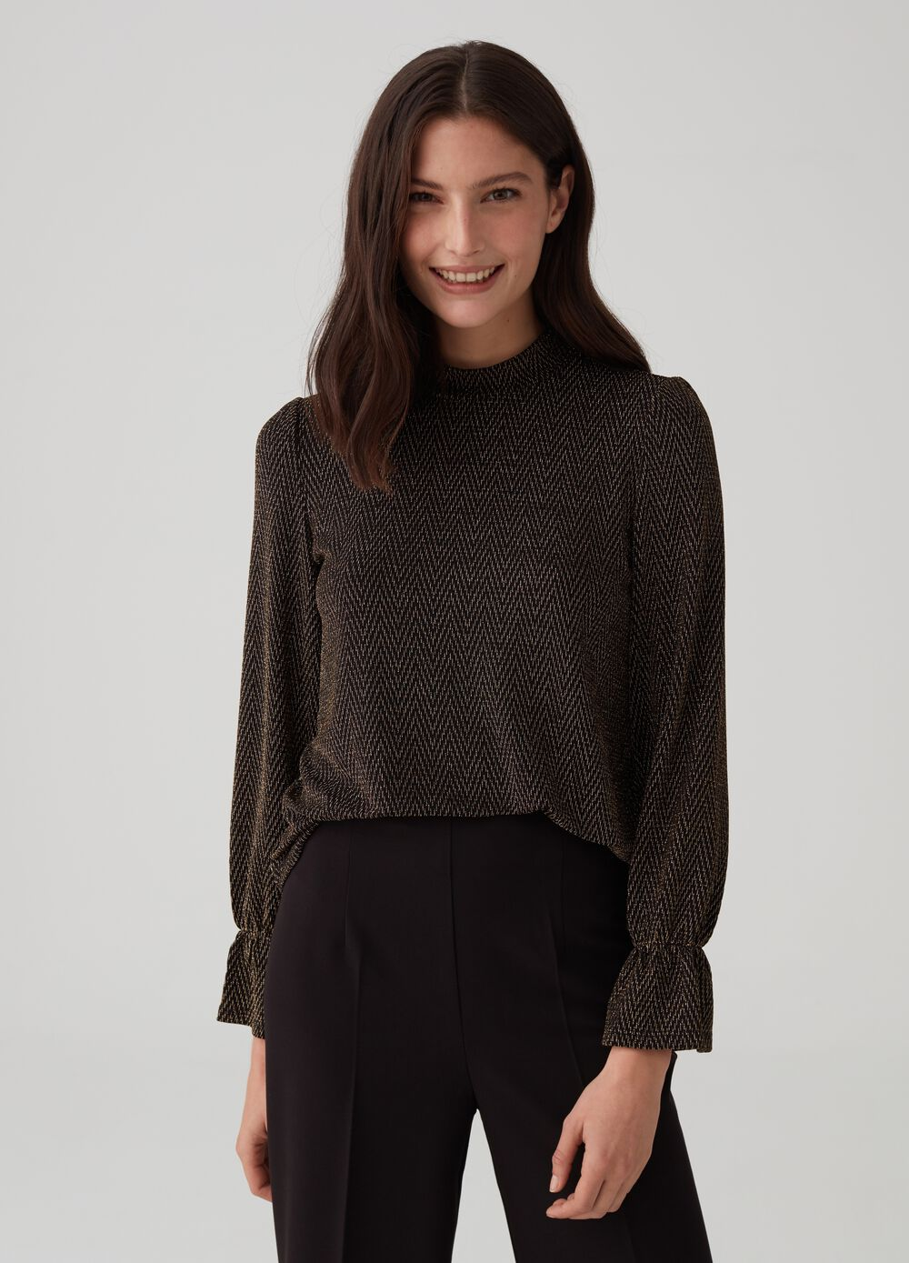 Patterned T-shirt with long sleeves and lurex