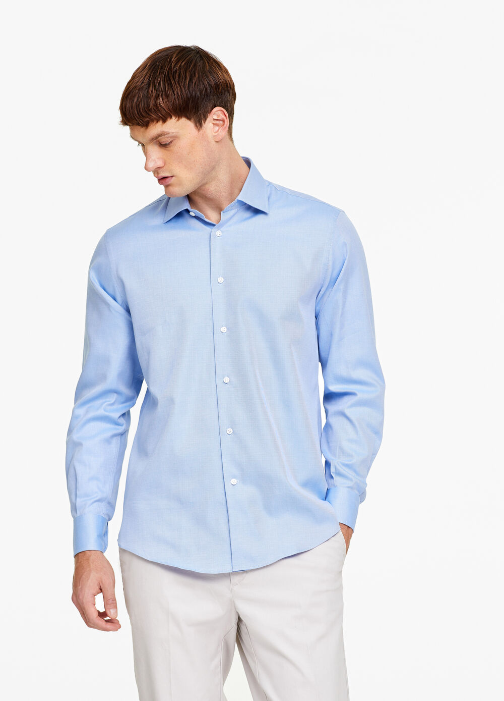 Regular-fit striped cotton shirt