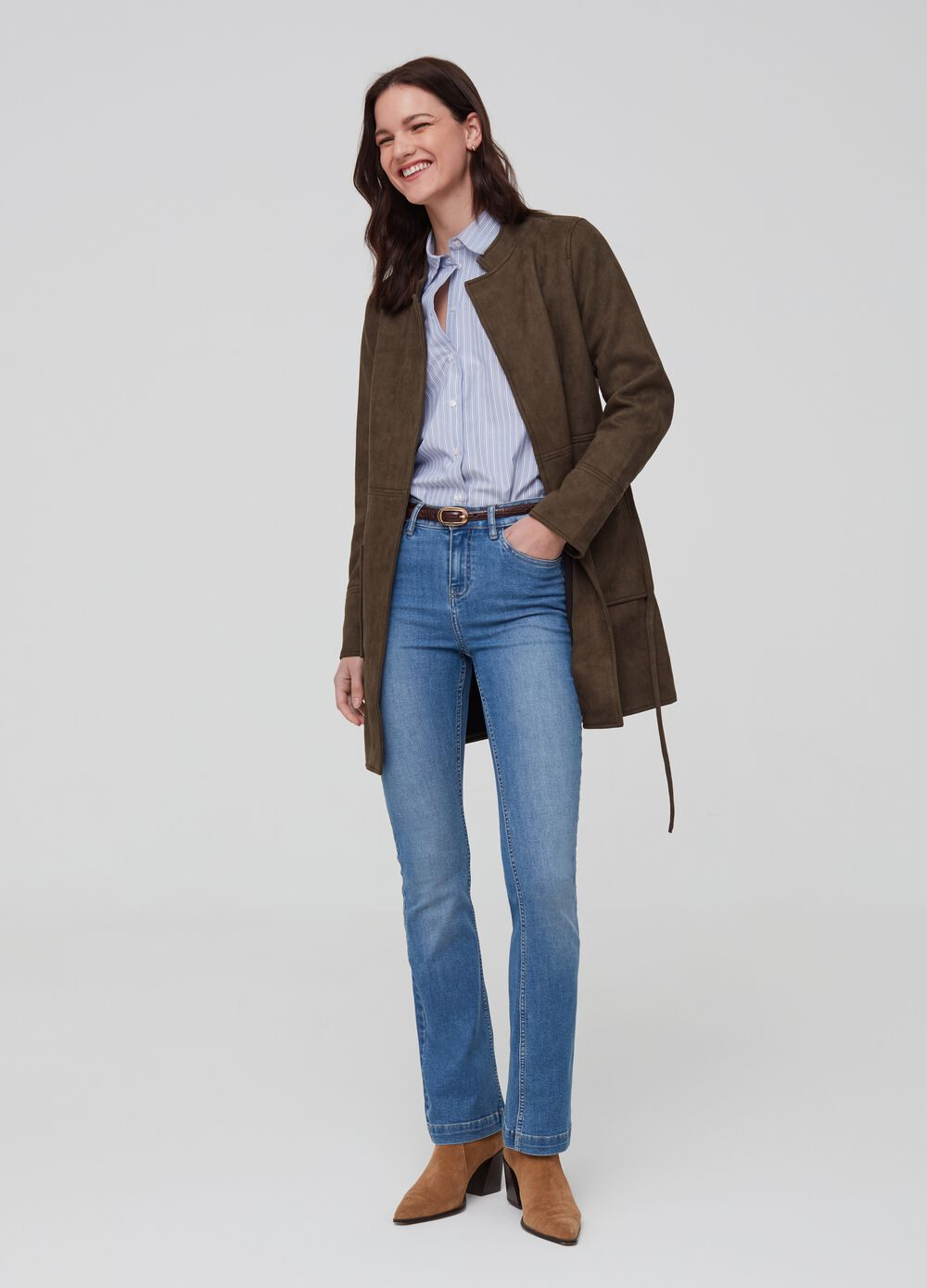 Faux suede coat with belt
