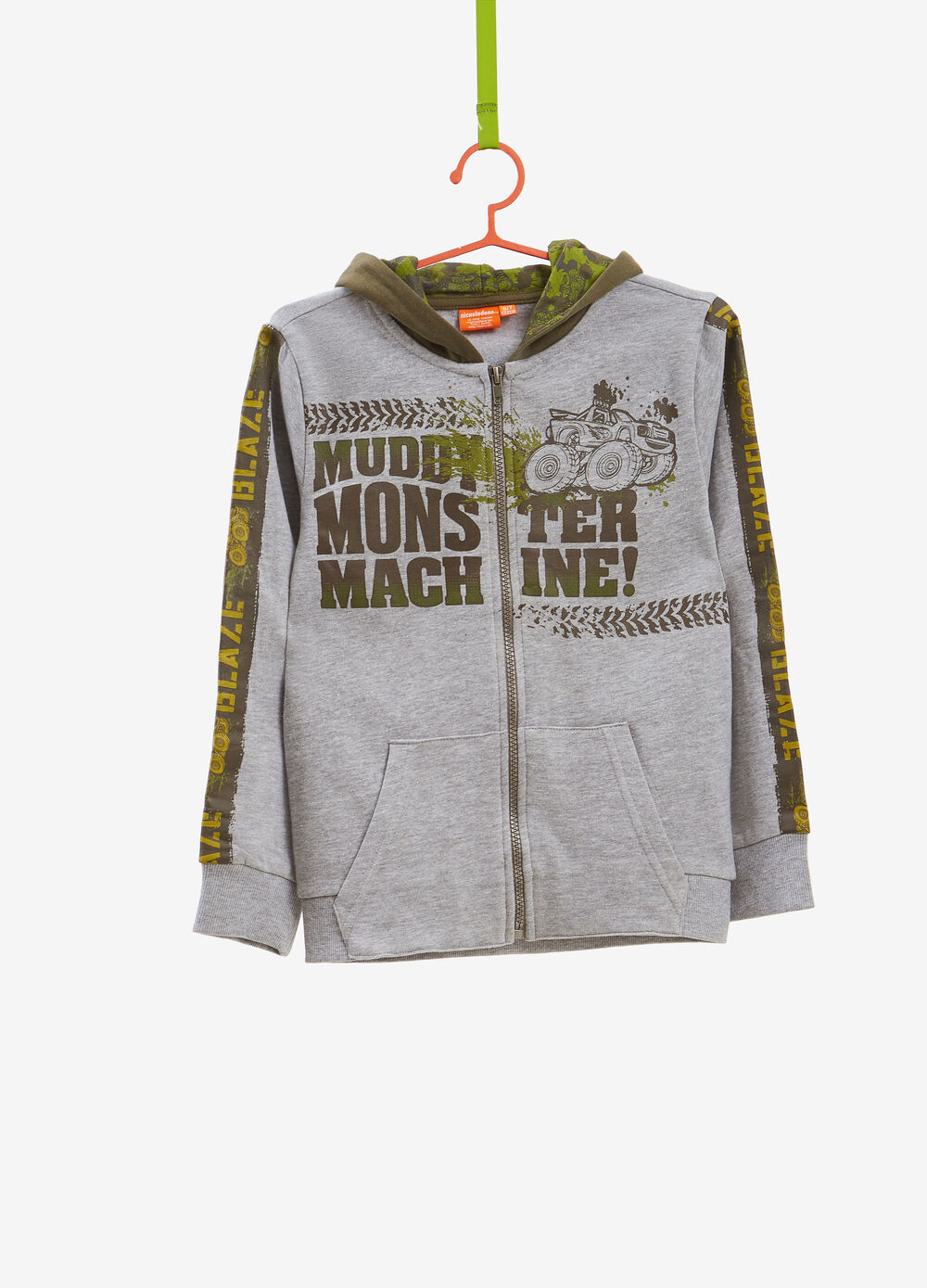 Cars pattern sweatshirt with hood and zip