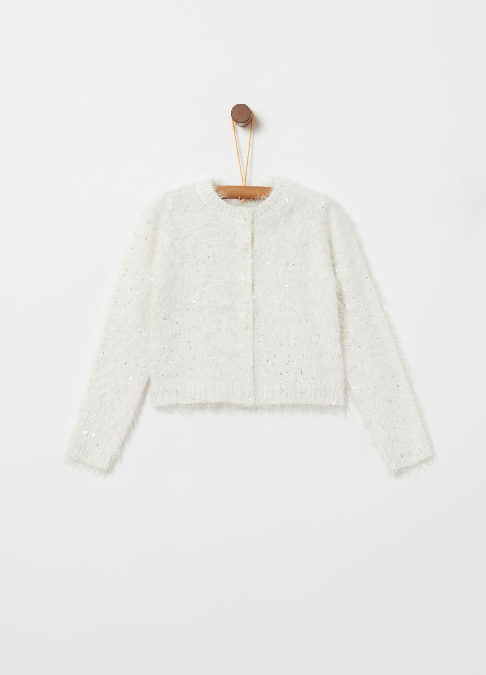 Knitted cardigan with fur and sequins