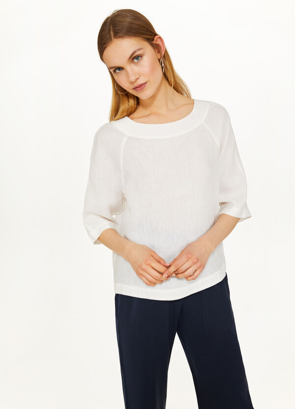 Solid colour linen and ramie blouse