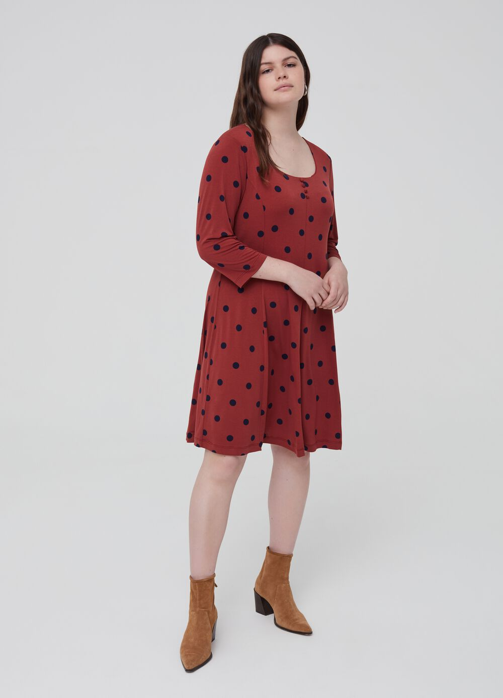Curvy stretch polka dot dress