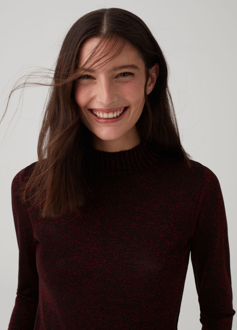 Knitted turtleneck jumper with lurex and ribbing