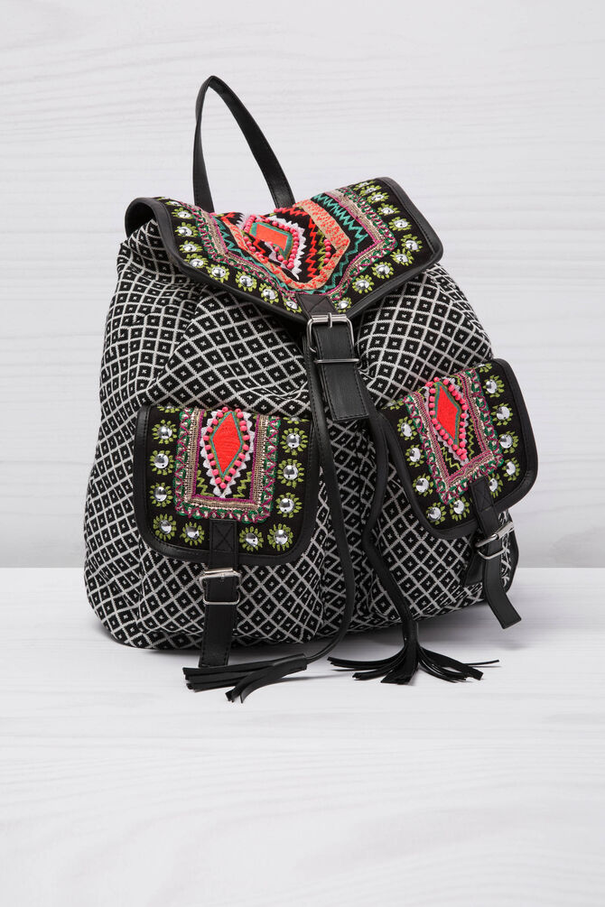 Ethnic pattern cotton backpack