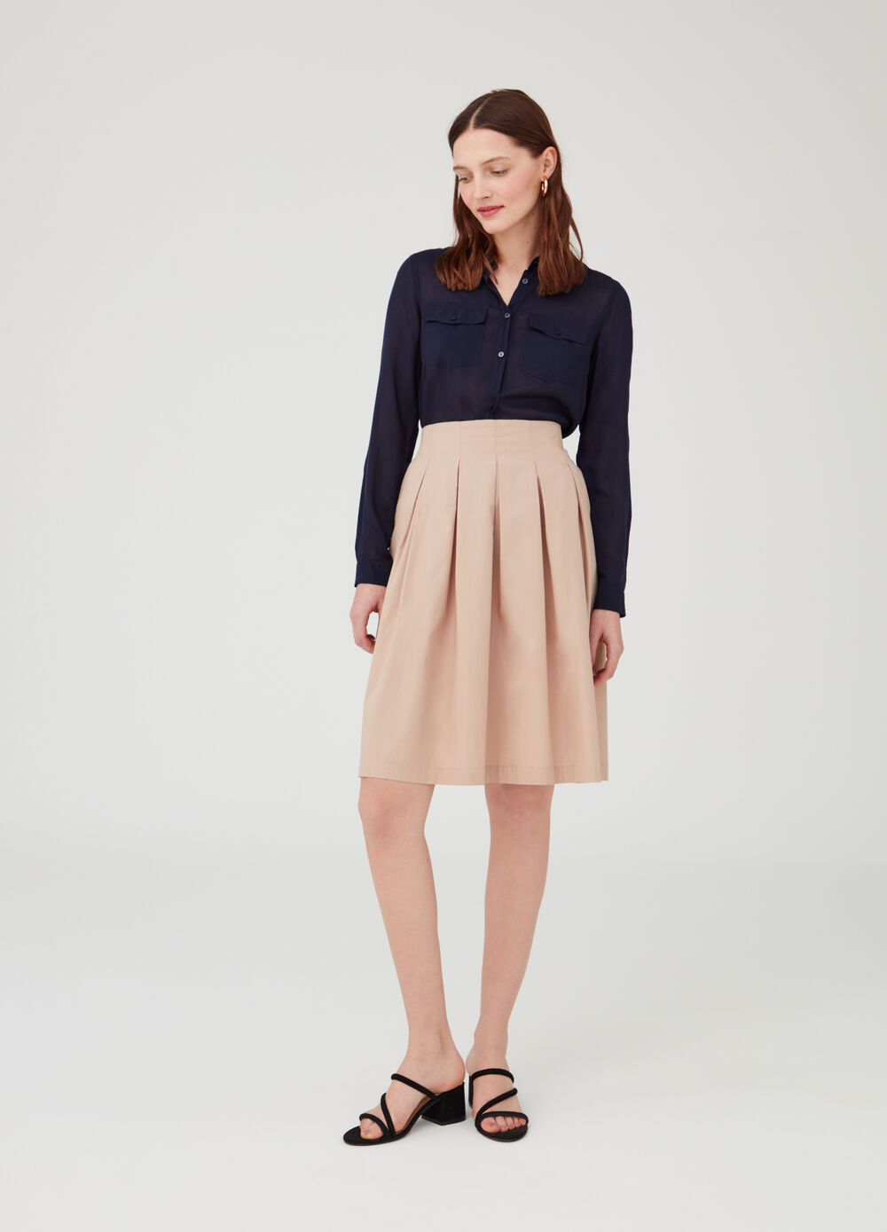 100% cotton pleated skirt with pockets