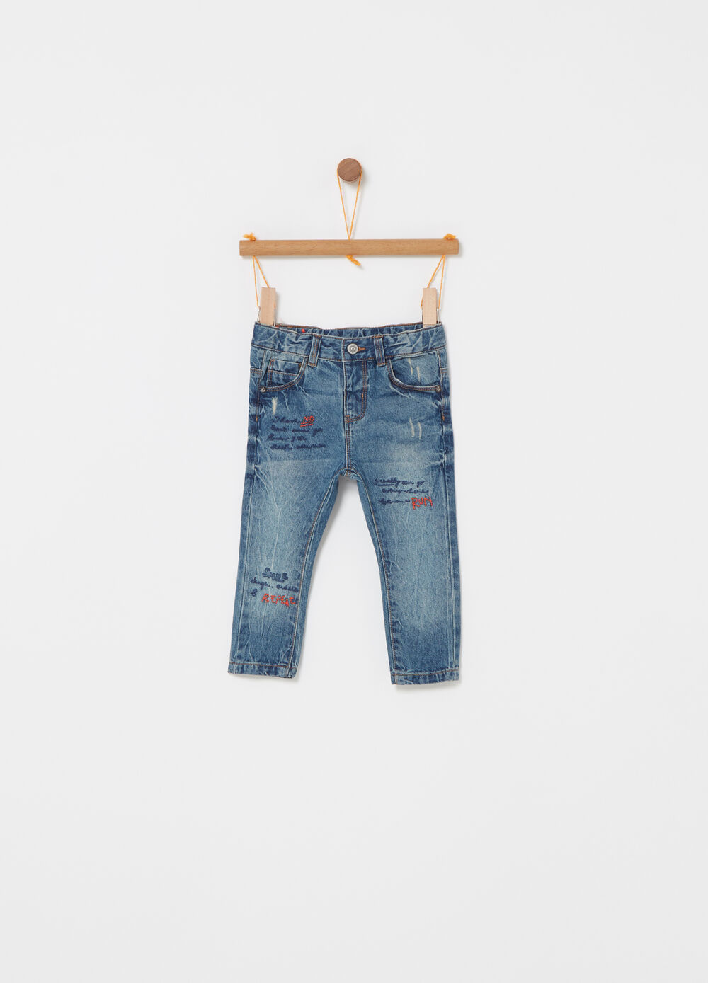 Vintage-effect jeans with five pockets