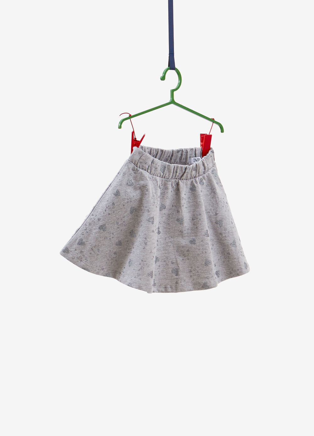100% cotton skirt with glitter hearts