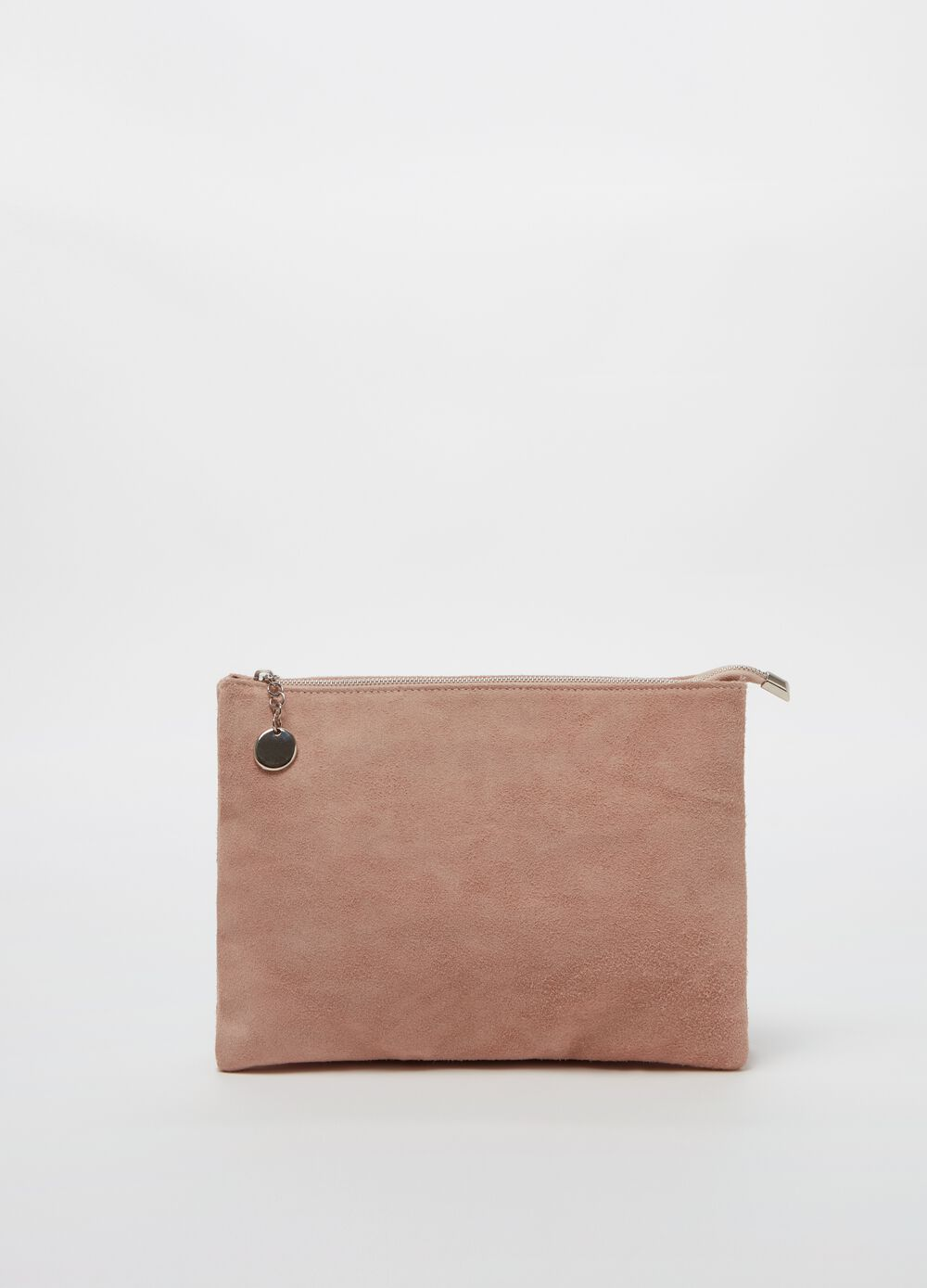 Solid colour clutch bag in suede leather