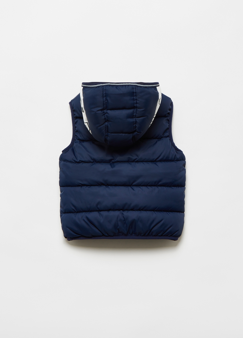 Padded gilet with pockets and hood image number null