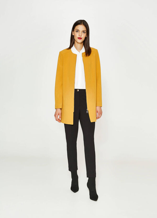 Cappotto viscosa stretch con zip | OVS