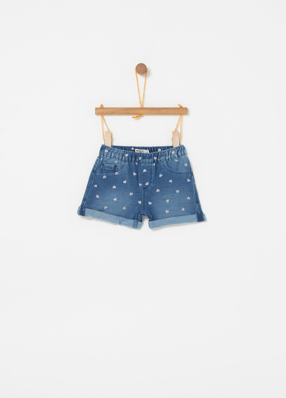 Denim shorts with five pockets and hearts