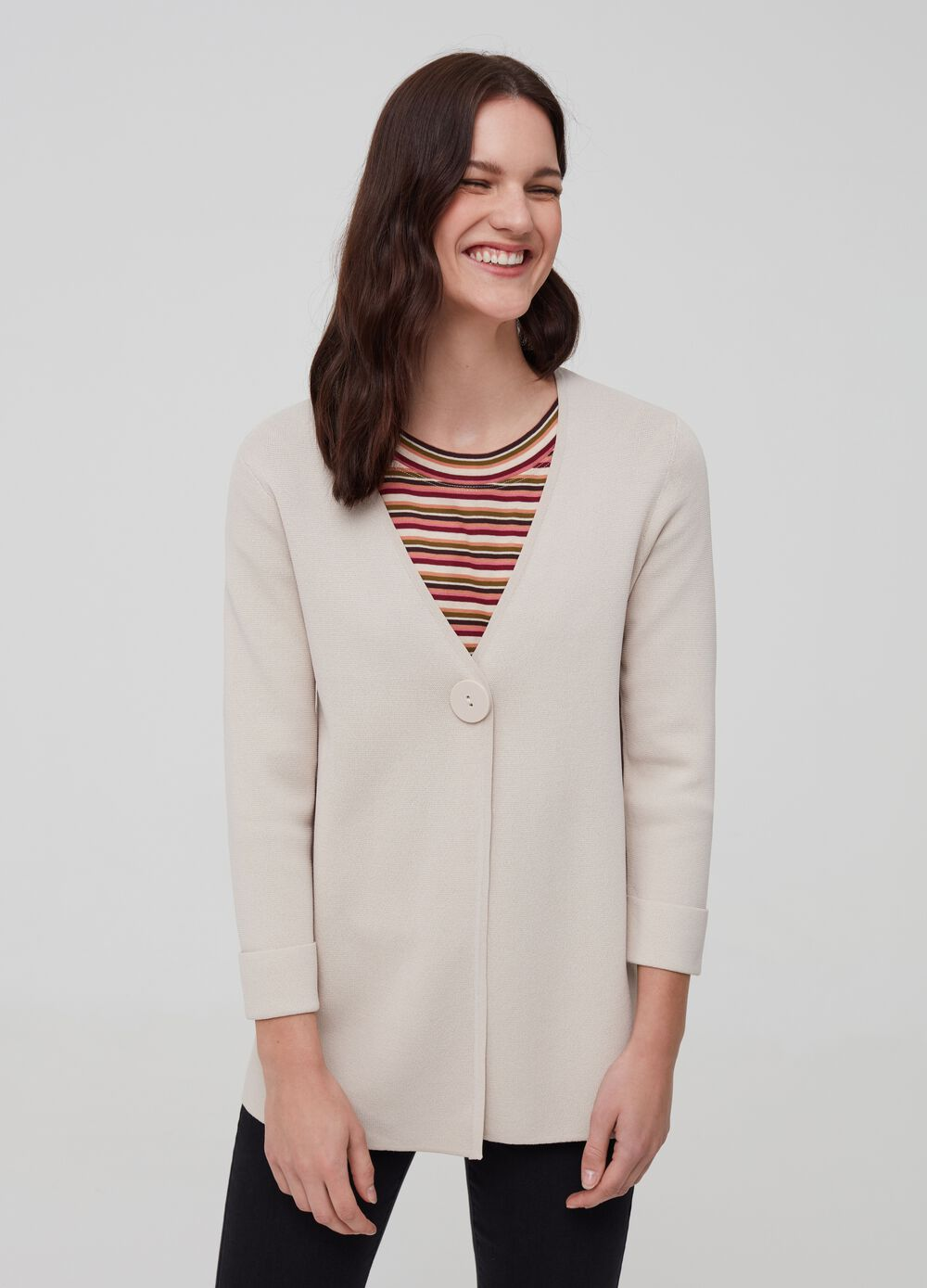Knit cardigan with button