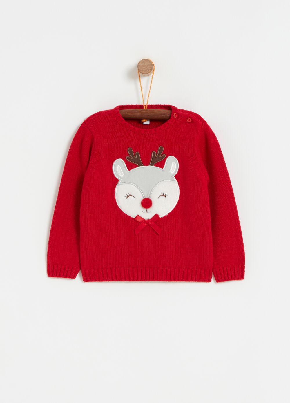 Knitted top with deer embroidery and bow