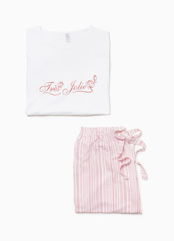 Striped pyjamas in 100% cotton with print