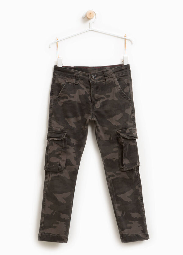 Camouflage stretch cotton cargo trousers