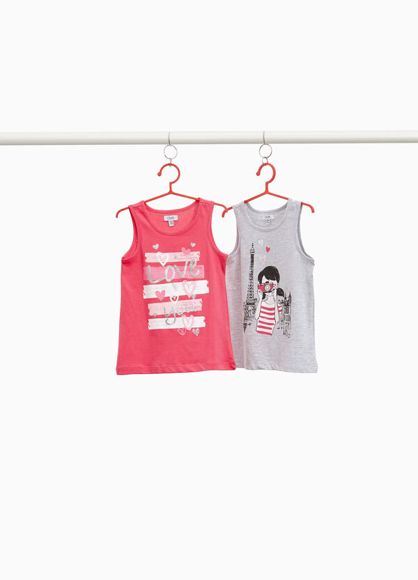 Two-pack tops in 100% cotton with print
