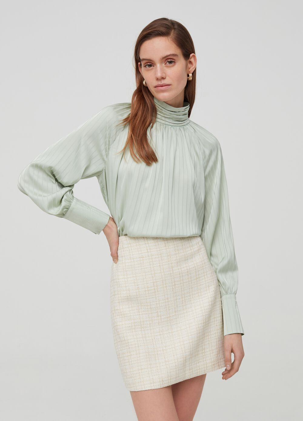 Blouse with striped high neck
