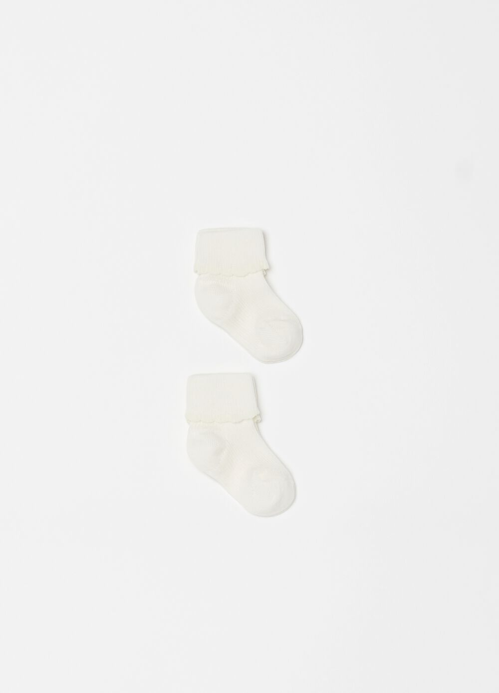 Two-pair pack short socks with fold and ribbing