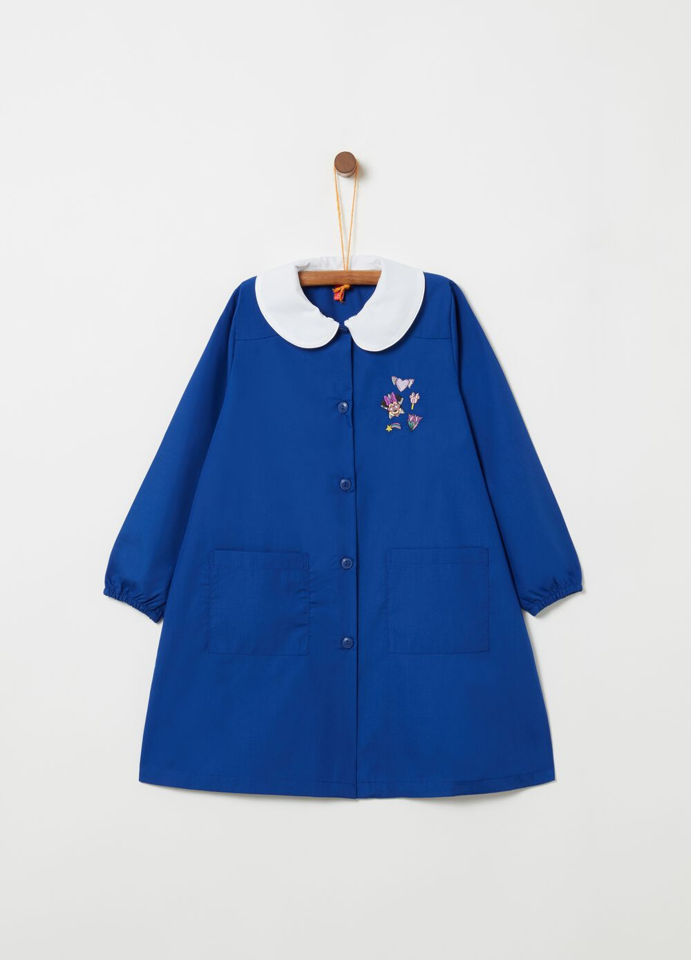 Minnie school smock with rounded collar