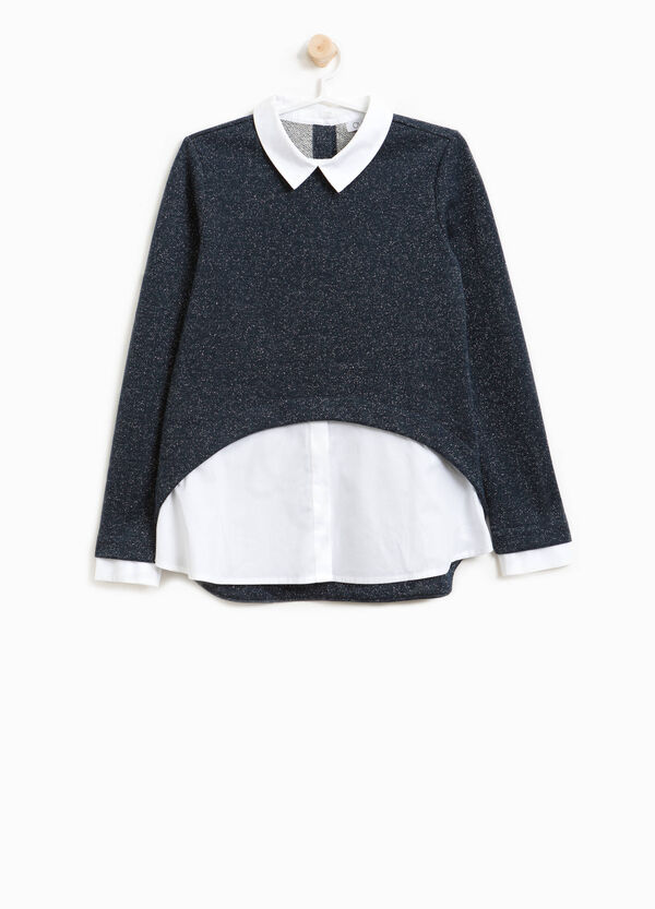 Sweatshirt in cotton blend with lurex and collar | OVS