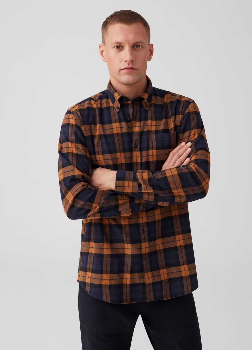 Regular-fit flannel shirt with pattern
