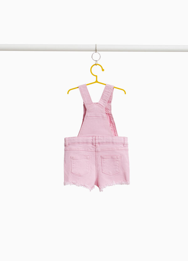 Stretch cotton dungarees with flounce