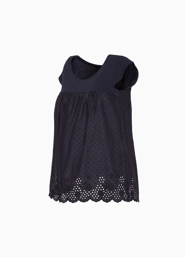 MUM 100% cotton blouse with embroidery and polka dots