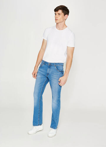 Worn-effect comfort-fit stretch jeans