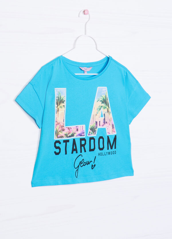 Printed crop T-shirt in 100% cotton   OVS